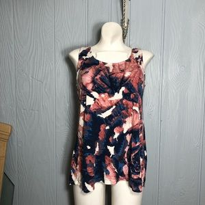 Floral watercolor cut out draped pleat blouse top